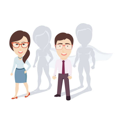 Conceptual Vector Illustration of Ordinary Businessman and Business Woman (Office Workers) with Superhero Shadows. Flat Cartoon Design.  イラスト・ベクター素材