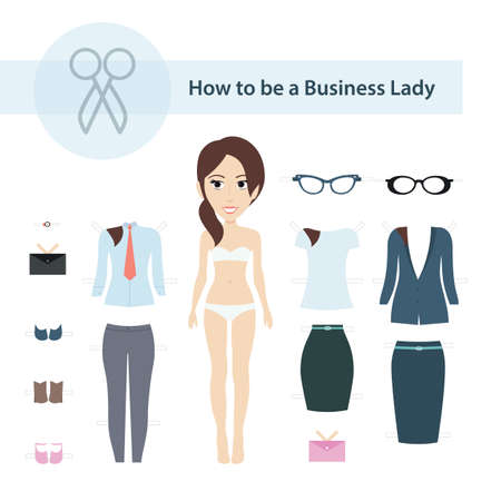 Vector Illustration of Cute Business Lady Paper Doll with Set of Clothes for Cutting. Vector