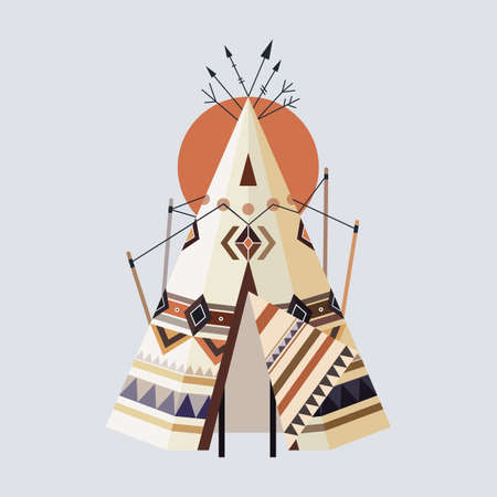 Vector Illustration of Indian House Tepee (also known as Wigwam).