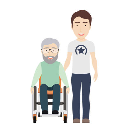 Young Man Helps His Disabled Grandpa on a Wheelchair.Vector Flat Illustration. Ilustração