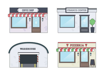 food industry: Set of Vector Flat Design illustrations of Facades of Buildings. Coffee Shop, Pizzeria, Finance Center and Warehouse Fronts.
