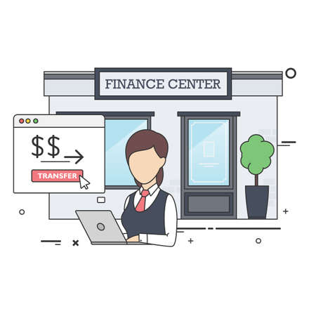 Vector Flat Illustration of Female Finance Clerk in Front of Finance Center Building Uses her Laptop to Make Money Transaction.