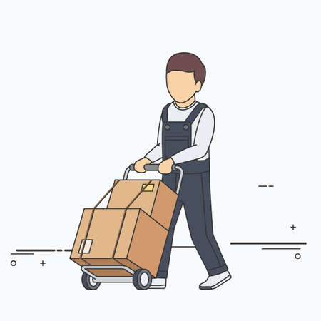 two wheel: Vector Flat Illustration of Delivery Man with Boxes on Two Wheel Cart. Illustration