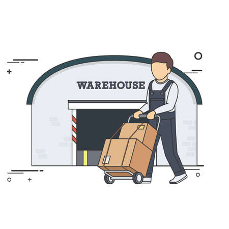 two wheel: Vector Flat Illustration of Delivery Man with Boxes on Two Wheel Cart in front of Warehouse. Illustration