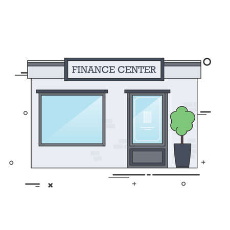 facade: Vector Flat Illustration of Finance Center Building Facade.