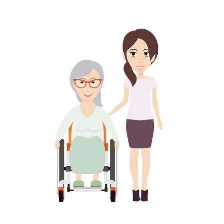 paraplegic: Mujer joven ayuda a su abuela para discapacitados en un Ilustración Wheelchair.Vector plana. Vectores