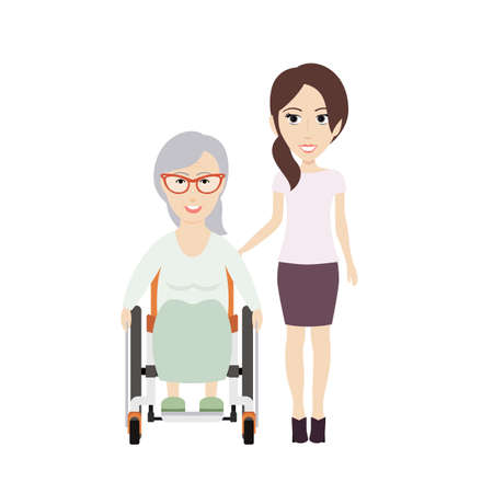 infirm: Young Woman Helps Her Disabled Grandma on a Wheelchair.Vector Flat Illustration.