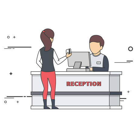 welcome desk: Receptionist Talking with Guest at Reception Desk. Vector Flat Illustration.