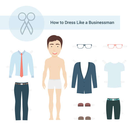 Vector Illustration of Cute Businessman Paper Dollwith Set of Clothes for Cutting. Ilustração