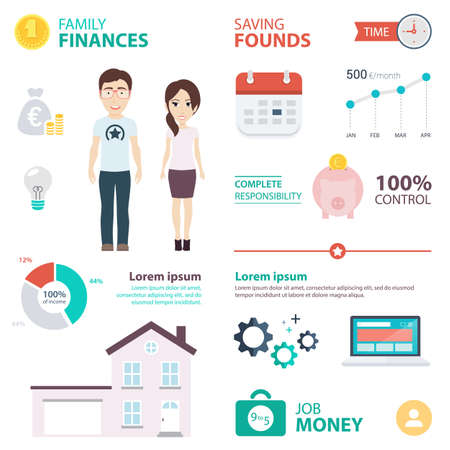 spouses: Infographic with Recommendations to Spouses on How to Get Money to Buy a House. Vector Flat Illustration.