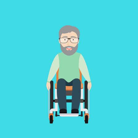 Vector Flat Illustratie van een oude man op een rolstoel.