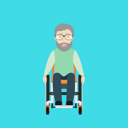 Vector Flat Illustration of an Old Man on a Wheelchair. Çizim