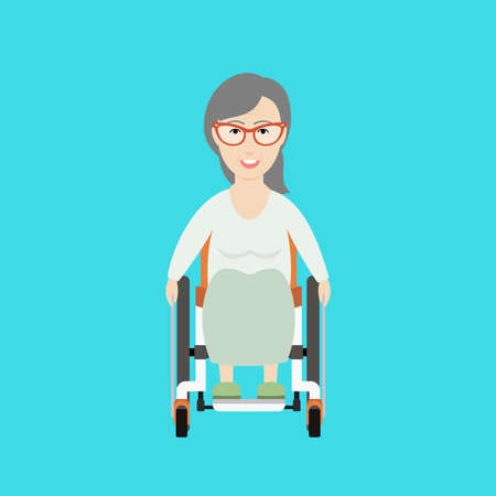 paralyze: Vector Flat Illustration of an Old Woman on a Wheelchair.