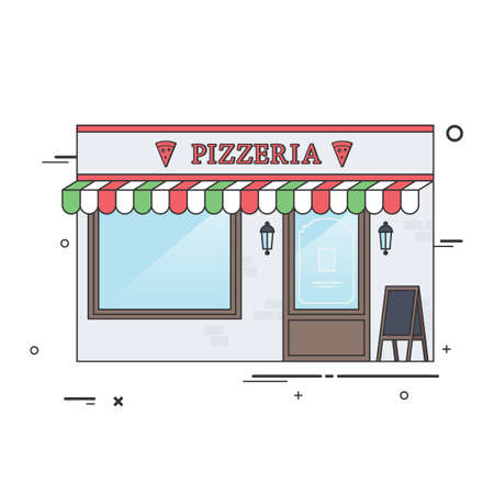italian architecture: Vector Flat Illustration of the Italian Pizzeria or Restaurant. Ideal for Restaurant Business Web Publications and Graphic Design.