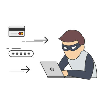 scammer: Conceptual Vector Illustration of Man in Role of Internet Thief Sitting in front of Laptop and Stealing Passwords and Numbers of Credit Cards.