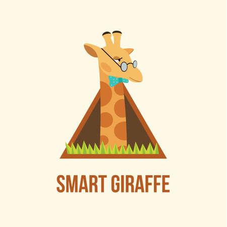 camelopard: Vector Flat Illustration of Cute Giraffe with Glasses.