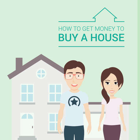 spouses: Vector Flat Illustration of Young Spouses with House on Background.