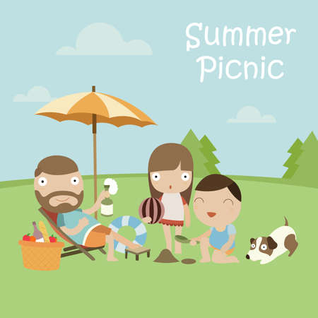 Happy Family with Dog on Summer Picnic. Vector Illustration with Flat Design.