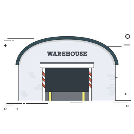 warehouse building: Warehouse Industrial Building Facade. Flat Style Illustration or Icon. Illustration