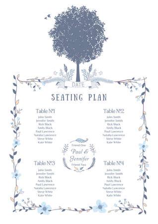 Carta del asiento de la boda. Incluye lista Tablas, Árbol, Pájaros y Flores frame.Vector Ilustración con Flat Design. Ilustración de vector