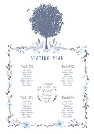 seat: Wedding Seating Chart. Includes Tables List, Tree, Birds and Floral Frame.Vector Illustration with Flat Design.