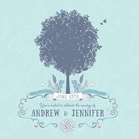 birds in tree: Wedding Invitation. Includes Text, Tree, Birds and Floral Frame.Vector Illustration with Flat Design.