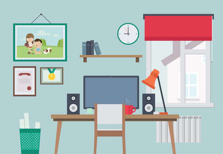 freelancer: Flat Style Vector Illustration of Home Workplace. Workspace for Freelancer.
