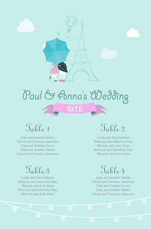 seating: Wedding Seating Chart. Includes Tables List, Bunnies Behind Umbrella with Eiffel Tower in the Background.
