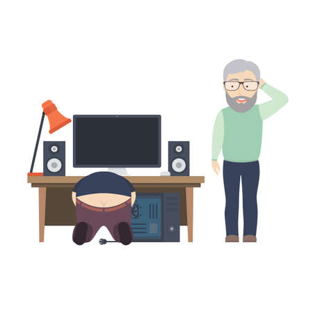 Flat Illustration of an IT Coordinator or Computer Guy Helping Old Man with His Broken PC. Illustration