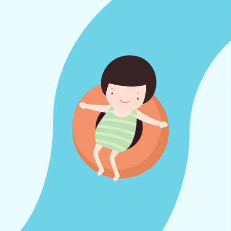 young asian girl: Illustration of a Young Asian Girl Riding a Water Slide Sledge