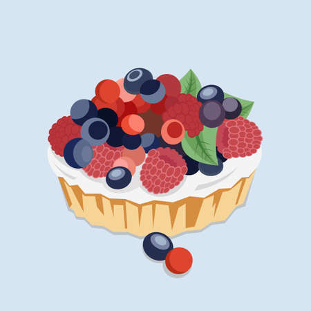 blueberry pie: Flat Illustration of a Pie with Berries and Cream.