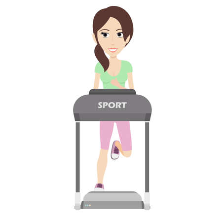 powerful: Flat Illustration of an Attractive Sporty Looking Woman Running on a Treadmill. Illustration