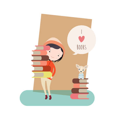 amount: Flat Illustration of a Small Girl and Her Dog with a Large Amount of Books.