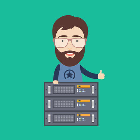 Flat Illustration of a Bearded Hosting Administrator with Server Rack. Vectores