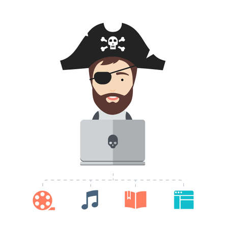piracy: Conceptual Flat Illustration of an One-eyed Bearded Man in a Pirate Hat Depicting Internet Piracy. Illustration