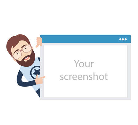 screenshot: Flat Illustration of a Bearded Man behind Browser Window Mockup where Screenshots could be placed.