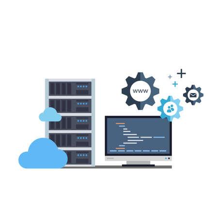 Ilustração plana conceitual de rack de servidor, monitor e engrenagens que está representando um processo de uma administração de servidor