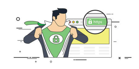 validated: Conceptual Vector Illustration of a Strong Man with Hand lock Sign on his Chest Depicting the Most Secured Extended Validated SSL certificate.