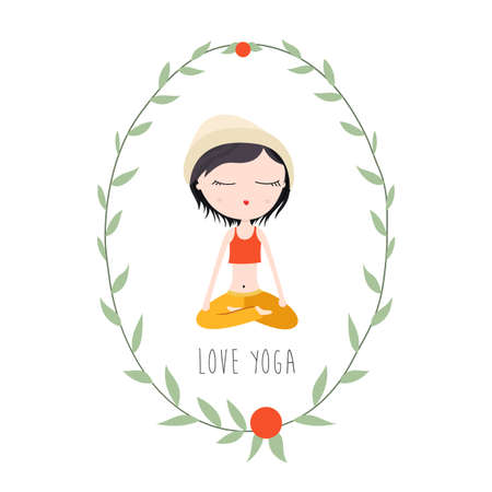 joga: Vector Flat Illustration of a Girl in Lotus Pose Doing Yoga.