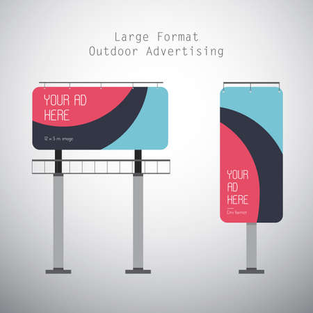Vector Flat Illustration of the Large Format Outdoor Advertising.
