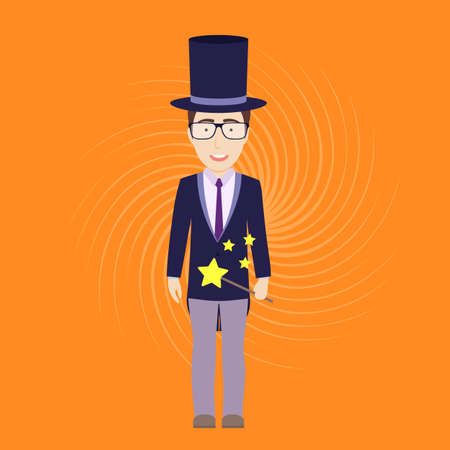 abracadabra: Vector Flat Illustration of Magician with Magic Stick Illustration