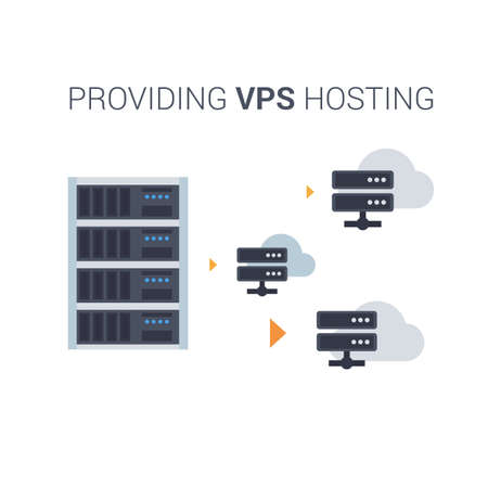 가상 개인 서버 또는 VPS 서비스 제공 프로세스를 묘사 한 개념적 벡터 평면 그림. 일러스트