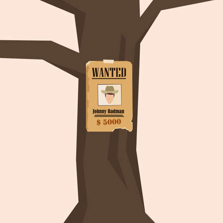 wanted poster: Vector Flat Illustration of a Wild West Style Wanted Poster on a Tree.