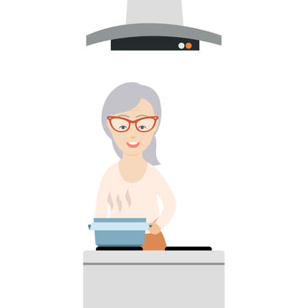 old kitchen: Vector Flat Illustration of an Old Woman Cooking in the Kitchen. Illustration