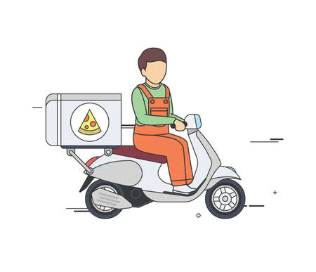 delivery boy: Vector Flat Illustration of a Pizza Delivery Boy on a Vintage Scooter. Illustration