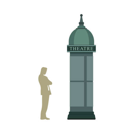 outdoor advertising: Illustration of a Man Standing Near an Advertising Column or So-called Morris Column Illustration