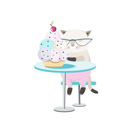 cafe table: Illustration of a Cat at the Cafe Table Eating Ice Cream Illustration