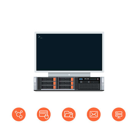 downtime: Illustration of a Server Unit with Monitor set to it and Flat Styled Icons