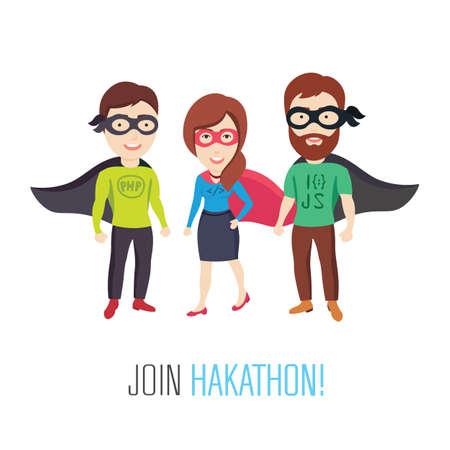ingeniero: Ilustraciones conceptuales de un grupo de especialistas informáticos como héroes Vectores