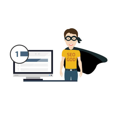 coder: Conceptual Illustartion of a Skilled Young SEO specialist as a Hero Illustration